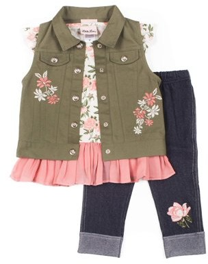Little Lass Floral Embroidered Vest, Chiffon Hem Top and Embroidered Knit Denim Legging, 3-Piece Outfit Set (Little Girls)