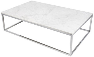 """Temahome Prairie 47""""x30"""" Coffee Table With Marble Top"""