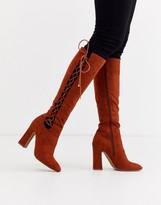 Asos Design DESIGN Cecily high heeled knee boot in tan