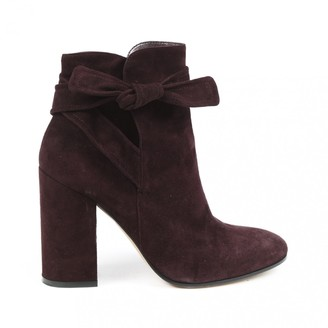Gianvito Rossi Burgundy Suede Ankle boots