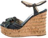 Chanel Denim Camellia Wedge Sandals