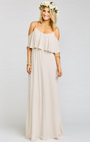 MUMU Caitlin Ruffle Maxi Dress ~ Show Me the Ring Crisp