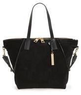 Vince Camuto Alicia Suede & Leather Tote - Black