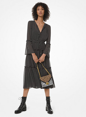 Michael Kors Mini Dot-Print Georgette Tiered Dress