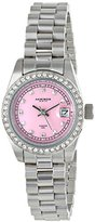 Akribos XXIV Women's AK489PK Quartz Movement Watch with Pink Mother of Pearl Dial and Stainless Steel and Crystals Bracelet