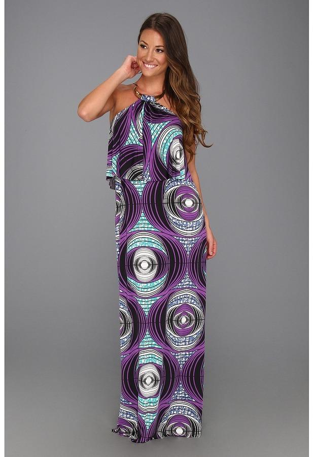 T-Bags Tbags Los Angeles - Hi-Neck Cami Long Dress w/ Crescent Gold Neck Trim (EM9 Print) - Apparel