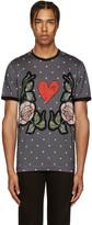 Dolce & Gabbana Grey Dot & Floral T-Shirt