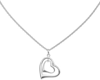 "Sterling Silver Double Heart Pendant with 18"" Chain"