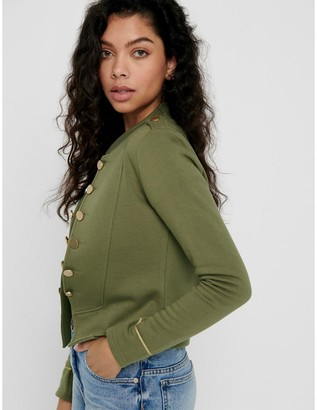 Only Cotton Mix Edge-to-Edge Jacket with Button Detail