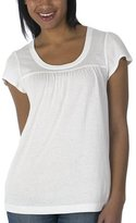 Mossimo® Black: Shirred Baby Doll Solid Tee - True White