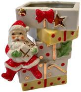 One Kings Lane Vintage Porcelain Santa with Packages Vase