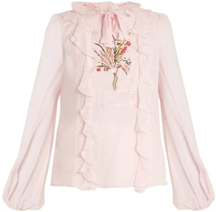 Giambattista Valli Embroidered silk-georgette blouse
