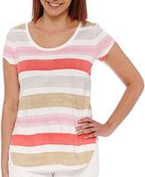 Liz Claiborne Short-Sleeve Striped Tee - Tall