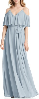 Jenny Packham Cold Shoulder Chiffon Gown