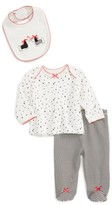 Little Me Infant Girl's Dalmation Tee, Pants & Bib Set
