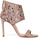 Casadei Suede and laser-cut metallic mesh sandals