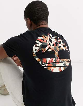 Timberland back logo camo t-shirt in black
