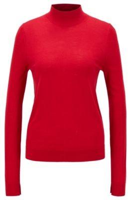 HUGO BOSS Mock Neck Sweater In Virgin Wool - Black