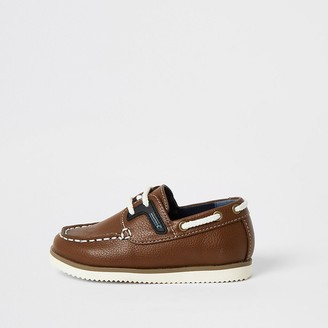 River Island Mini boys light brown lace-up boat shoes
