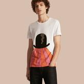 Burberry Bowler Hat Motif and Stripe Print Cotton T-shirt
