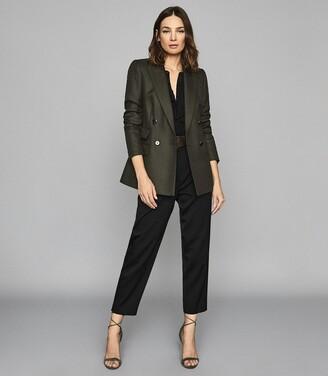 Reiss Ledbury - Wool Blend Double Breasted Jacket in Khaki