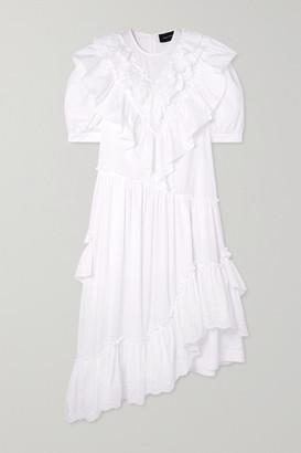 Simone Rocha Bite Asymmetric Ruffled Broderie Anglaise Cotton-poplin Midi Dress - White