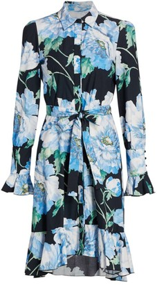 Marchesa Printed Ruffle-Hem Silk Shirtdress