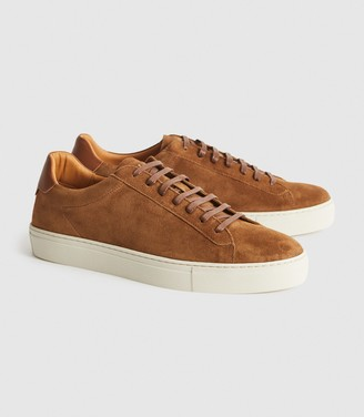 Reiss Finley - Suede Trainers in Toffee