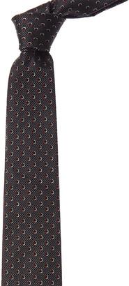 Salvatore Ferragamo Black Gancini Silk Tie