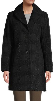 T Tahari Tanya Lurex Wool-Blend Shawl Collar Coat