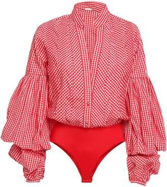 Johanna Ortiz Jicarilla Gingham Cotton-blend Poplin And Stretch-jersey Bodysuit