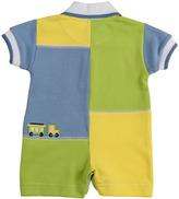 Florence Eiseman Chug Along Colorblock Short-Playsuit, Blue/Green/Yellow, 3-9 Months