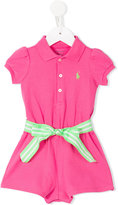 Ralph Lauren belted romper - kids - Cotton/Polyester - 3 mth