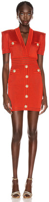 Balmain Short Sleeve V Neck Dress in Rouille | FWRD