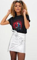 PrettyLittleThing Black Crack Vinyl Frill Panel Mini Skirt