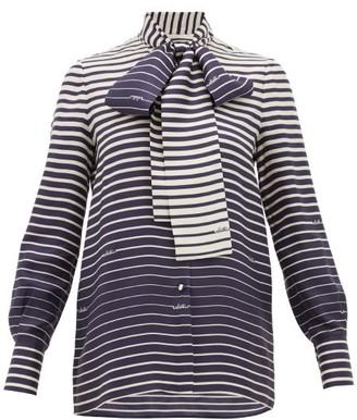 Valentino Degrade-stripe Silk-twill Blouse - Navy Stripe