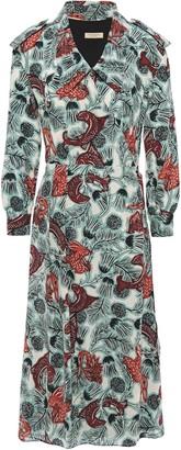 Burberry Printed Silk-crepe De Chine Wrap Dress