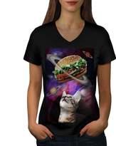Space Burger Cat Fun Women XXL V-Neck T-shirt | Wellcoda
