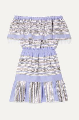 Lemlem + Net Sustain Amira Off-the-shoulder Frayed Striped Cotton-gauze Mini Dress - Blue