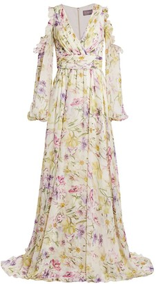 Theia Floral Cold-Shoulder Chiffon Gown