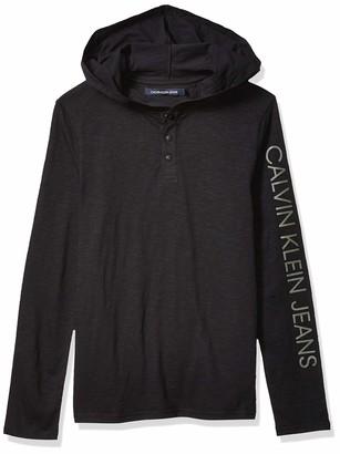 Calvin Klein Men's Waffle Henley Long Sleeve Shirt Hoodie