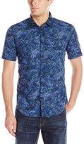 Calvin Klein Jeans Men's Confetti Camo Print Short Sleeve Button Down Shirt