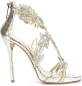 Oscar de la Renta floral embroidery sandals