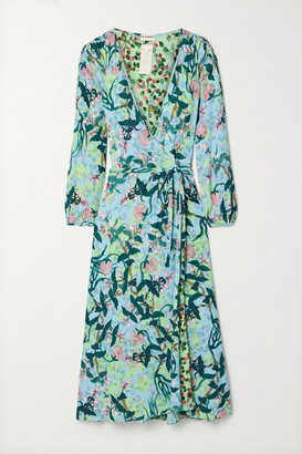 Diane von Furstenberg Evelyn Reversible Floral-print Crepe Wrap Dress - Light blue