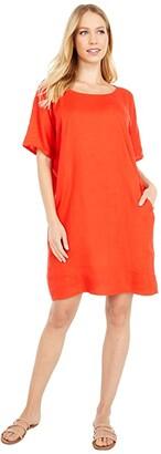 Eileen Fisher Petite Round Neck Short Sleeve Dress (Geranium) Women's Clothing