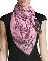 Anna Coroneo Silk Chiffon Square Droids Scarf, Pink