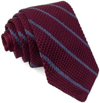 The Tie BarThe Tie Bar Burgundy Striped Pointed Tip Knit Tie