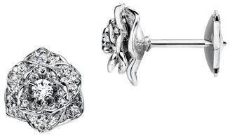 Piaget Rose 18K White Gold & Diamond Pave Stud Earrings