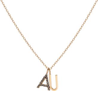 AUrate New York Double Mini Letter Charm Pendant with Black Diamonds