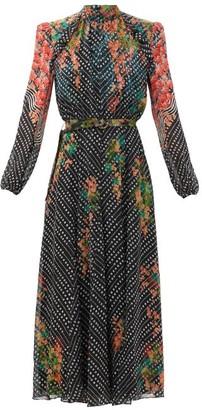 Saloni Jacqui B Coral Blossom-print Silk Midi Dress - Black Multi